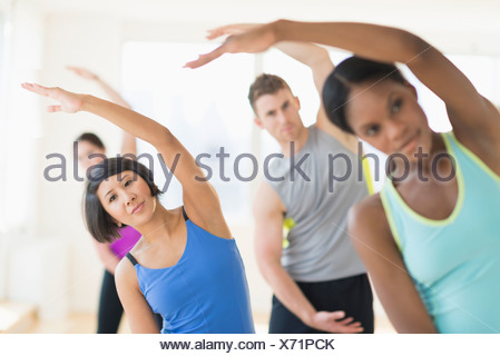 group of women stretching in gym stock photo 78894635  alamy