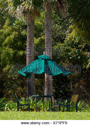 Scenic picnic table under the shade of an umbrella and trees in a park. - Stock Photo