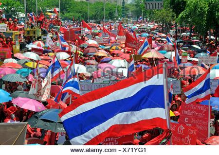 Thaksin Shinawatra followers demonstrating in Bangkok, Thailand, Asia - Stock Photo