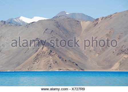 Himalaya Mountain seen along with Pengong tso Lake ( an endorheic lake in the Himalayas situated at a height of about 4,350 m (1 - Stock Photo