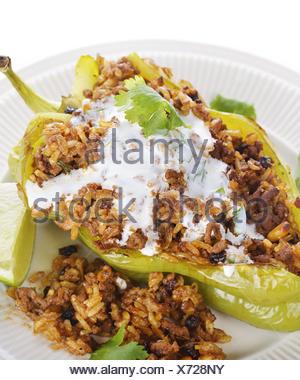 Stuffed Poblano Pepper - Stock Photo