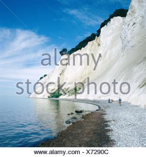 Denmark Europe island isle Mon cliffs chalk rocks coast people sea Mons Klint steep coast
