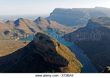 Blyde River Canyon and reservoir Blyderivierspoort Dam, Mpumalanga, South Africa, Africa - Stock Photo