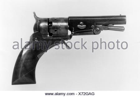 Colt Paterson Pocket Percussion Revolver, Fourth Ehlers Model, serial no. 152, with Case and Accessories. Manufacturer: Samuel Colt (American, - Stock Photo