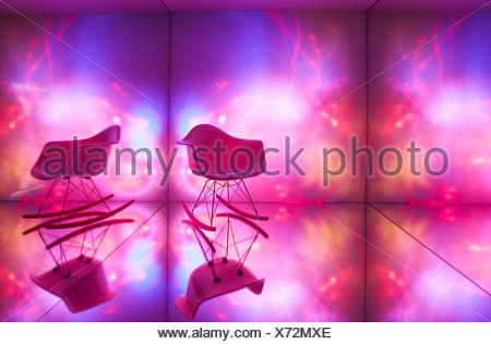 Room, light objects, rocking chair, modern, design, mirroring Stock ...