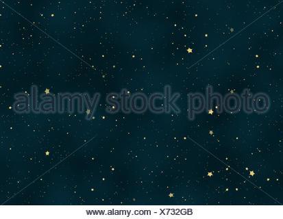 night sky covered with many bright stars - Stock Photo