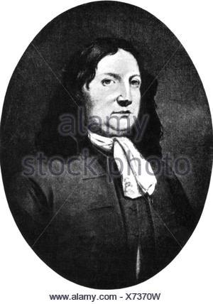 Penn, William, 14.10.1644 - 30.7.1718, English politician, Quaker, founder of Pennsylvania, portrait, oval, - Stock Photo
