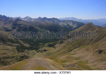 View from the Col de la Bonette mountain pass, highest paved road in Europe, Alpes-Maritimes department, Western Alps, France - Stock Photo