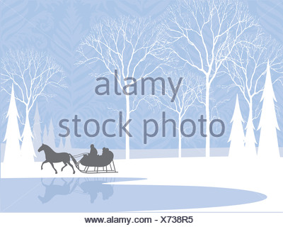 Silhouette of a horse-drawn sleigh ride by a lake in the snow - Stock Photo