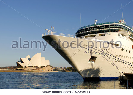 Australia, Cruise Ship in Darling Harbour - Stock Photo
