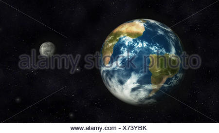 Digital Illustration of Planet Earth and Moon - Stock Photo
