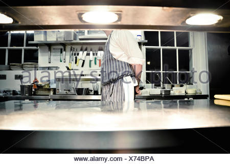 Chef standing in commercial kitchen - Stock Photo