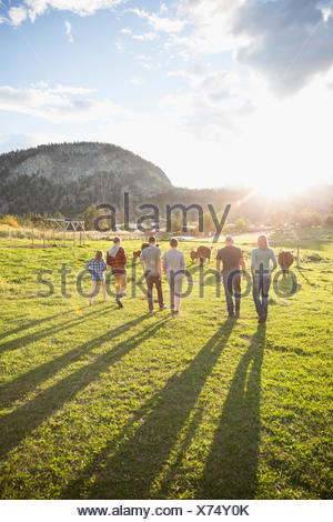 Family walking in a row toward cows in sunny field on rural farm - Stock Photo