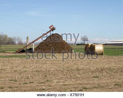 agriculture farming field farm heap manure pile fertiliser straw blue - Stock Photo