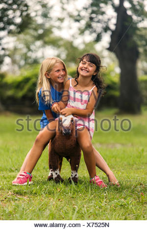 Two laughing girls sitting together on a toy horse - Stock Photo