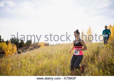 Runners descending sunny autumn slope - Stock Photo