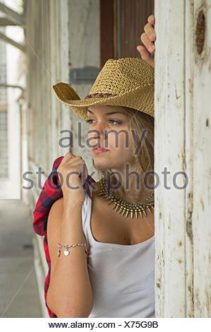 teen, wood, outdoor, country, teen, wood, brown, brownish, brunette, hat, skin, - Stock Photo