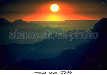 Sunrise over theSouth Rim of the Grand Canyon Grand Canyon National Park Arizona - Stock Photo