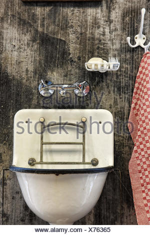 wash basin dirt mud wash washing virus dirty sanitary towel laundry hygiene - Stock Photo