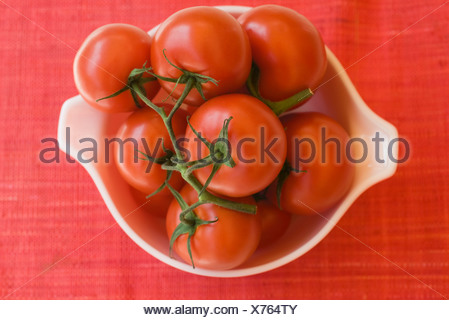 Ripe vine tomatoes in bowl - Stock Photo