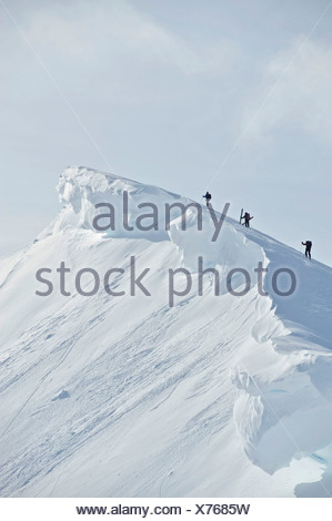 Backcountry skiers on the ridge of PMS Bowl in Turnagain Pass, Chugach National Forest Southcentral Alaska, Winter - Stock Photo