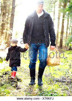 Father and daughter picking mushrooms in the forest, Sweden. - Stock Photo