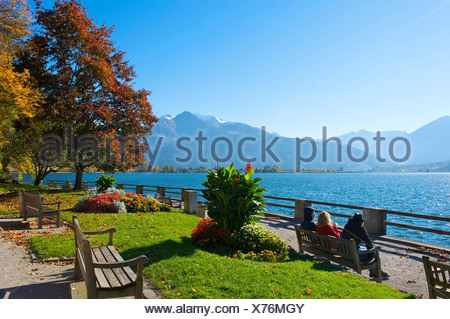 Salzburg country, Austria, Europe, outdoors, outside, day, autumn, autumnal, autumn colors, Alps, Pinzgau, Zell am See - Stock Photo
