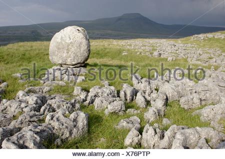 View limestone pavement erratic rock Twistleton Scars looking towards Ingleborough Ribblesdale Yorkshire Dales N.P North - Stock Photo
