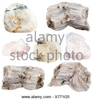 set of various baryte (barite) natural mineral stones and gemstones isolated on white background - Stock Photo