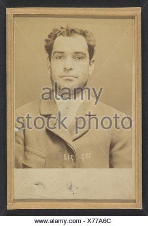Dauriac. Henri, Georges. 36 ans, né à Memphis (USA). Agent d´affaires. Extortion de fonds. 22/12/94. Artist: Alphonse Bertillon (French, 1853-1914); - Stock Photo