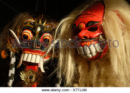 Arts and culture, Barong and Rangda masks, terrible mystical mythical creatures, Ubud, Bali, Indonesia, Southeast Asia, Asia - Stock Photo