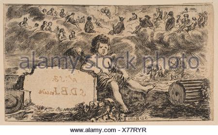 Title page: Cupid, from ´Game of Mythology´ (Jeu de la Mythologie). Series/Portfolio: ´Game of Mythology´ (Jeu de la Mythologie); Artist: Etched by - Stock Photo