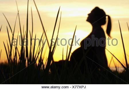 Sunset Silhouette of Pregnant Woman sitting amongst tall grass - Stock Photo