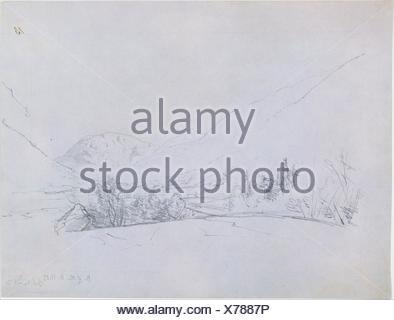 North of the White Mountains. Artist: John Frederick Kensett (American, Cheshire, Connecticut 1816-1872 New York); Date: 1850; Medium: Graphite on - Stock Photo