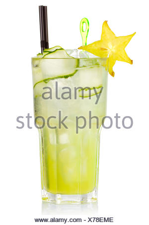 Green alcohol cocktail with carabola fruit isolated on white background - Stock Photo