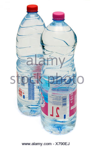 Close-up on two bottles, mineral water, 2 liters. - Stock Photo
