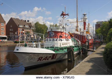 harbor germany german federal republic East Frisia harbours lower saxony - Stock Photo
