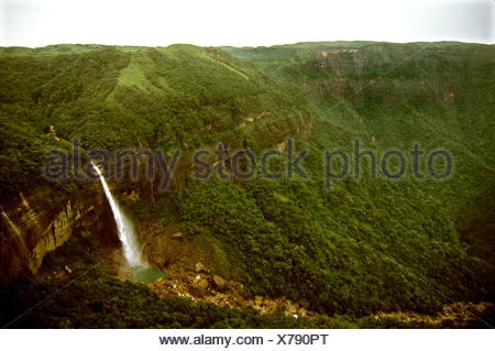 Nohkalikai Falls in Cherrapunjee at Meghalaya - Stock Photo