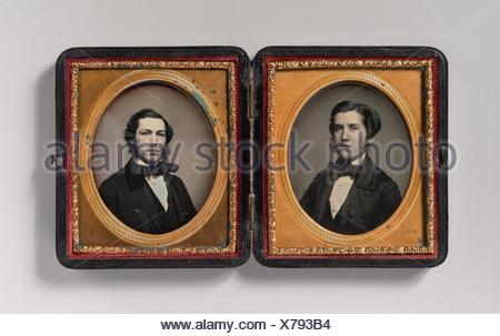 [Double Plate: Two Men with Sideburns]. Artist: Possibly by John Adams Whipple (American, 1822-1891); Date: 1850s; Medium: Daguerreotype; Dimensions: - Stock Photo