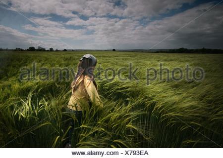 girl in field - Stock Photo