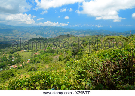 Central America, Costa Rica, Puntarenas, landscape, hills, tropical, Puntarenas, - Stock Photo