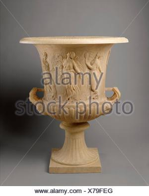 Marble calyx-krater with reliefs of maidens and dancing maenads. Period: Imperial; Date: 1st century A.D; Culture: Roman; Medium: Marble, Pentelic; - Stock Photo