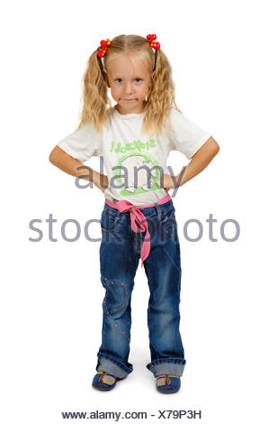 serious little girl with braids - Stock Photo