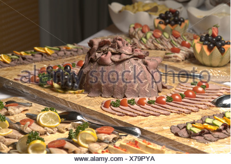 Cold cuts with roast beef and ham, buffet, food - Stock Photo