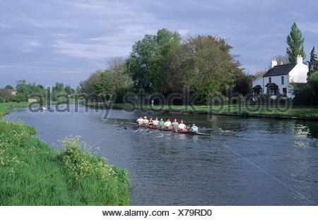 Rowing Eight Ditton Meadows Fen Ditton Cambridge - Stock Photo