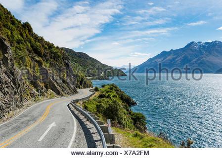 Road on Lake Wakatipu, Devils Staircase, Otago, Southland, New Zealand - Stock Photo