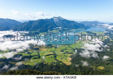 View of a lake in the Alps, Salzkammergut, Austria, aerial view - Stock Photo