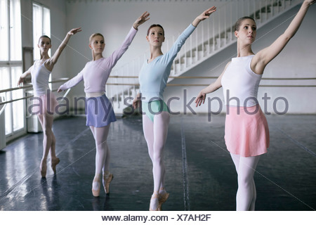 Female ballet dancers doing the toe-dance side-by-side - Stock Photo