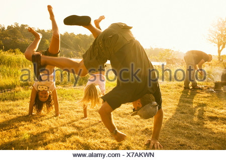 A picnic a summer night Sweden. - Stock Photo