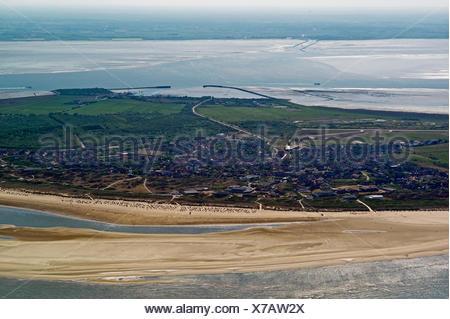 aerial view of Langeoog, Germany, Lower Saxony, Langeoog - Stock Photo
